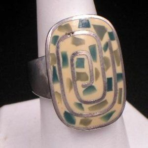 Enameled Sterling Labyrinth Ring Signed Lc